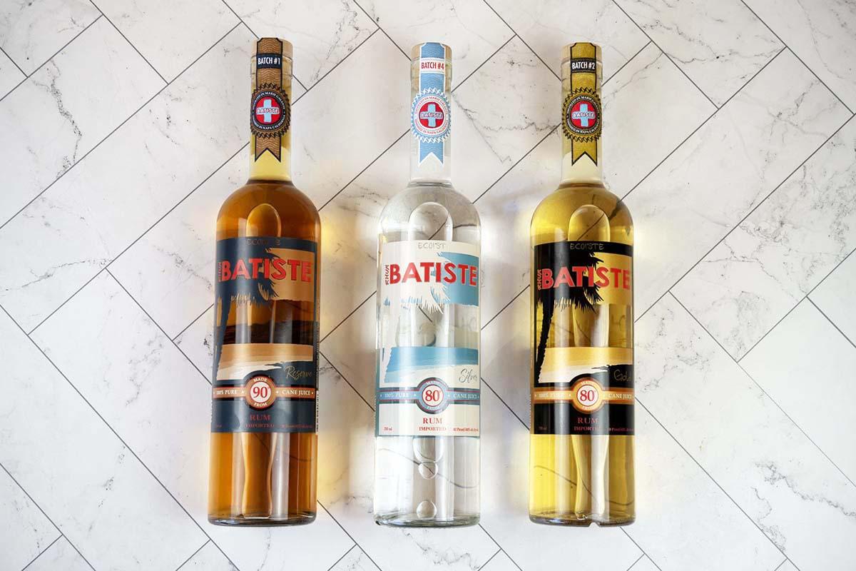 Three bottles of Batiste Rhum, possibly the world's first carbon negative rhum