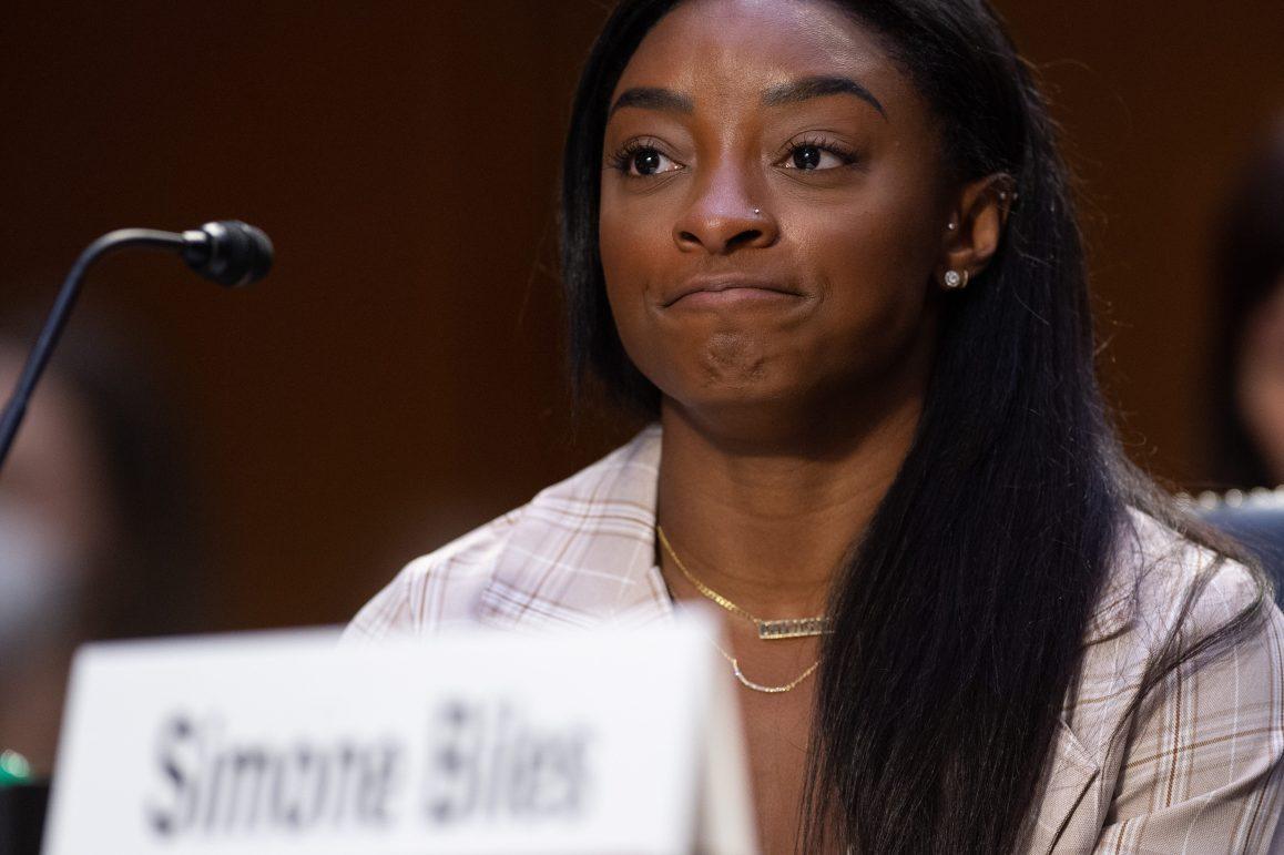 U.S. Olympic gymnast Simone Biles testifies during a Senate Judiciary hearing about Larry Nassar