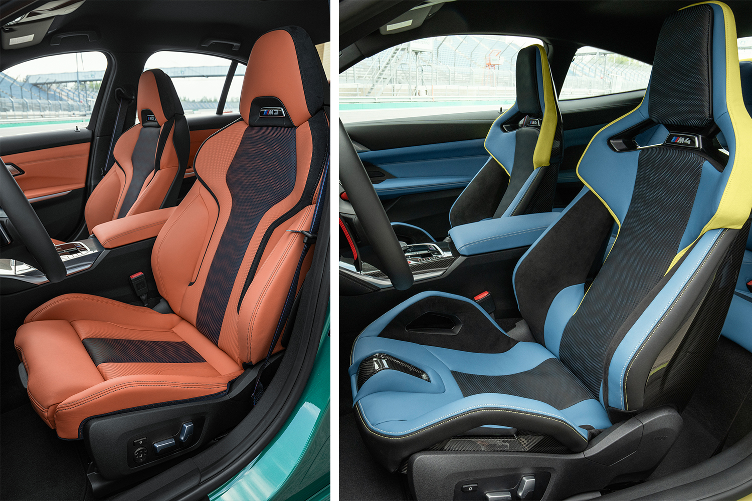 The front seats in the new 2021 BMW M3 Competition Sedan (left) next to the front seats in the new 2021 BMW M4 Competition Coupe (right), those on the right featuring a carbon fiber horn in between the driver's and passenger's legs