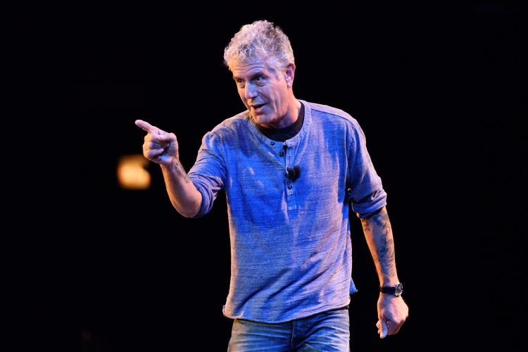 Anthony Bourdain speaks on stage during the Close to the Bone Tour at Auditorium Theatre on July 30, 2015 in Chicago, Illinois
