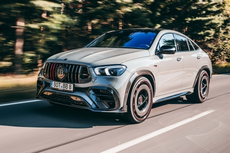 The Brabus 900 Rocket Edition based on the Mercedes-Benz GLE 63 S 4MATIC Coupe driving down the road. Brabus says it's the fastest street-legal SUV in the world.