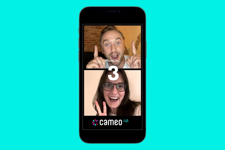 A picture of a smartphone showing the new Cameo Calls feature, a celebrity in a screen on top with a fan underneath