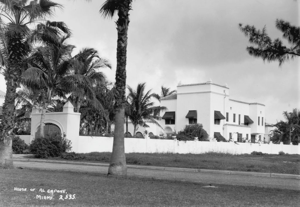 Al Capone's Miami estate as pictured in a black and white photo from March 1938. The house now faces demolition.