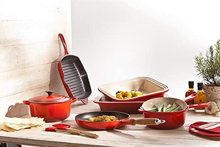 Various cast iron dishes from Le Creuset, pictured. Woot is hosting a one-day sale on cast iron cookware.