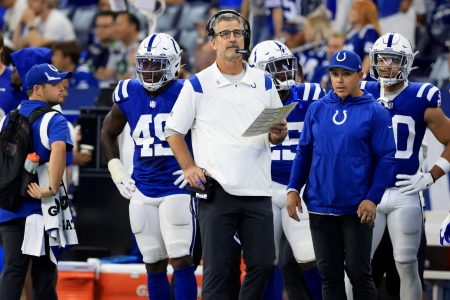 Head coach Frank Reich of the Indianapolis Colts on the sidelines