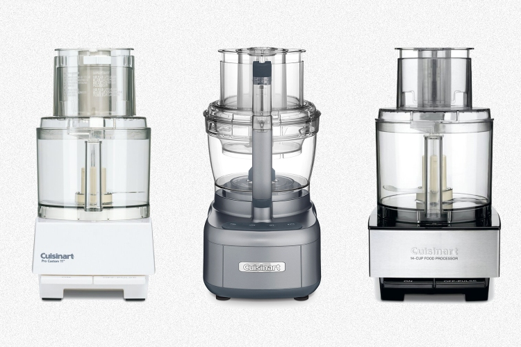Three food processors from Cuisinart that are on sale at Wayfair, including an 11 Cup, 13 Cup and 14 Cup model on a grey background