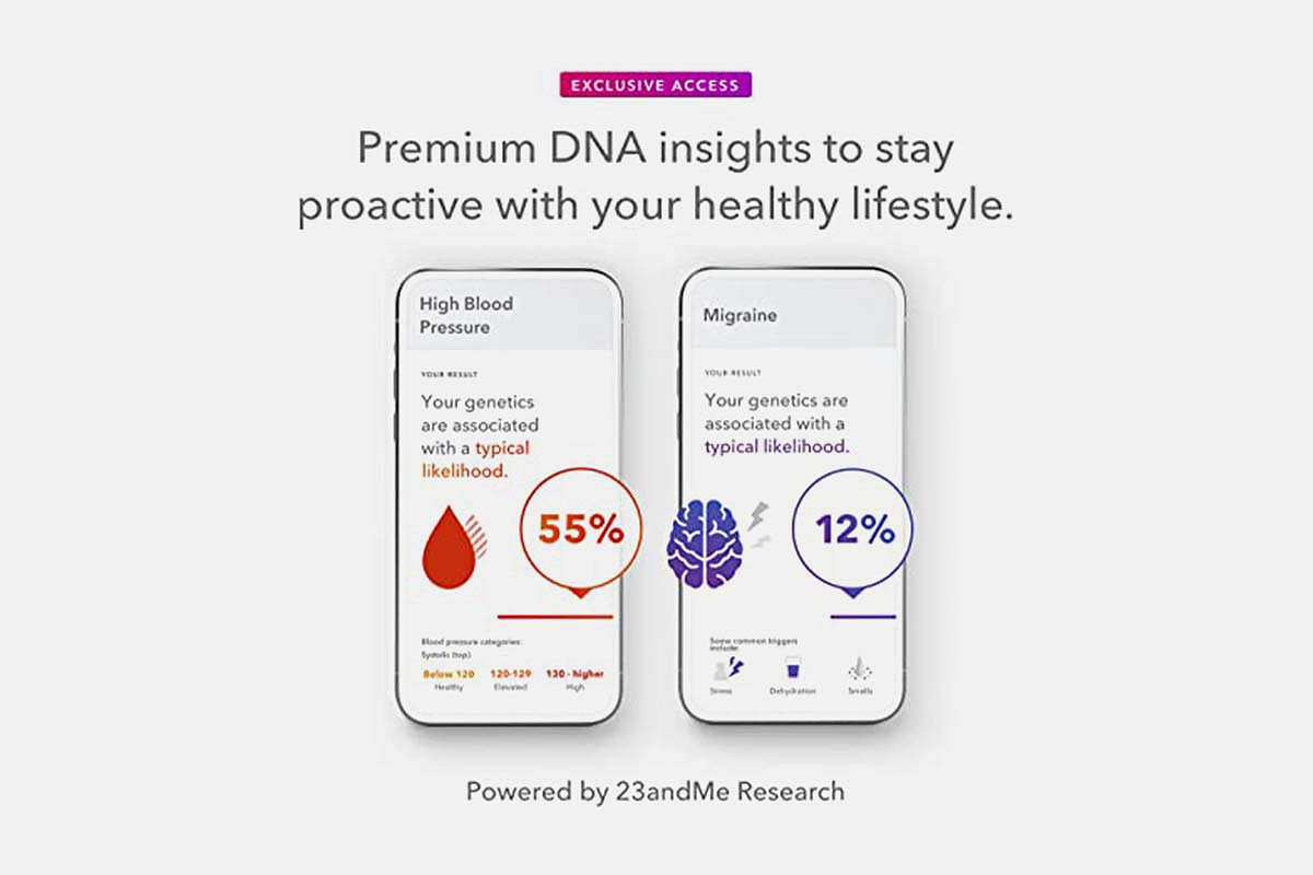 Health reports from the 23andMe+ Premium Membership Bundle, now on sale at Woot