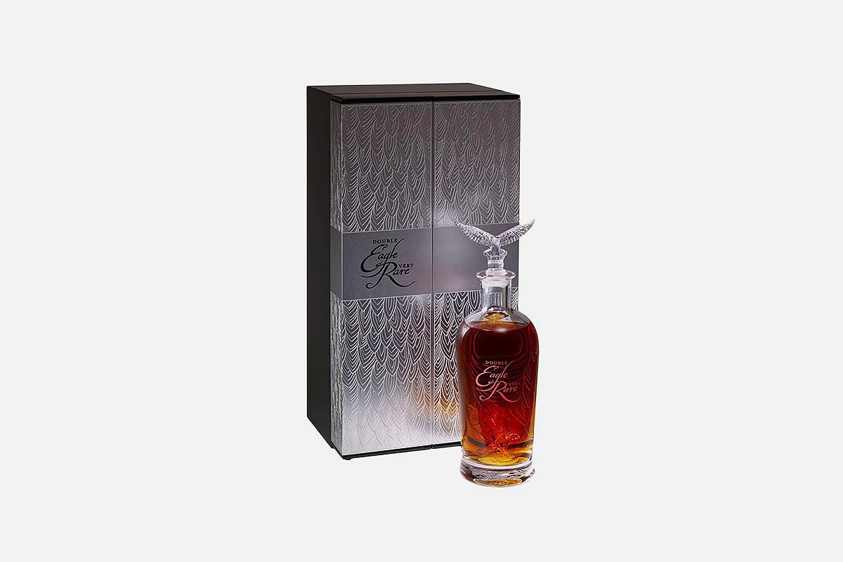 A bottle and box of Double Eagle Very Rare, a Buffalo Trace release that is often fraudulently advertised online for a low price