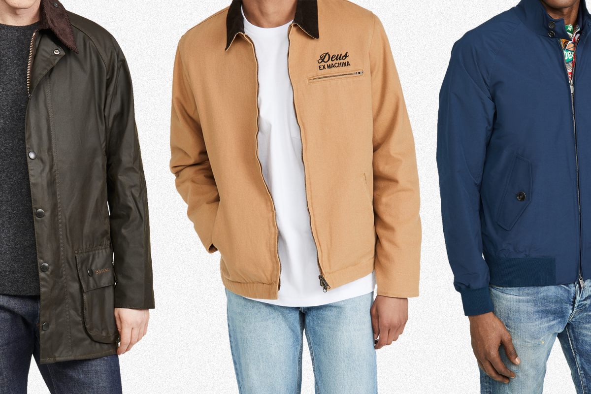A Barbour waxed jacket in olive, a Deus Ex Machine workwear jacket in tan and a Baracuta G9 Harrington jacket in blue, all of which are on sale at East Dane