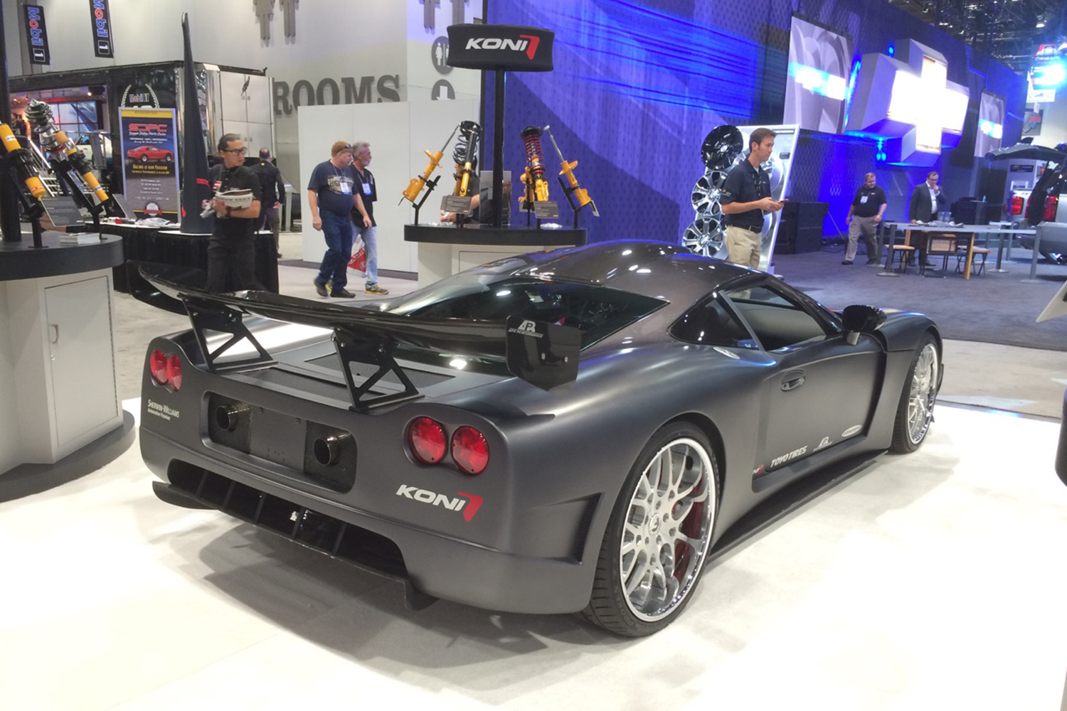 A Factory Five Racing GTM supercar based on a Corvette at the KONI Shocks booth at SEMA in 2014