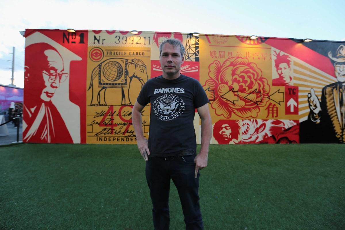 Artist Shepard Fairey attends the Wynwood Walls Kick Off of Art Basel Miami in 2012