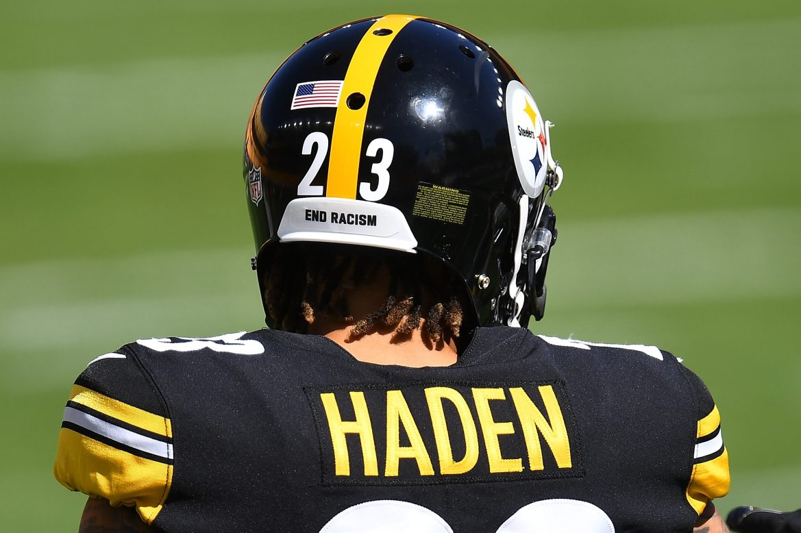 """The message """"End Racism"""" on an NFL helmet"""