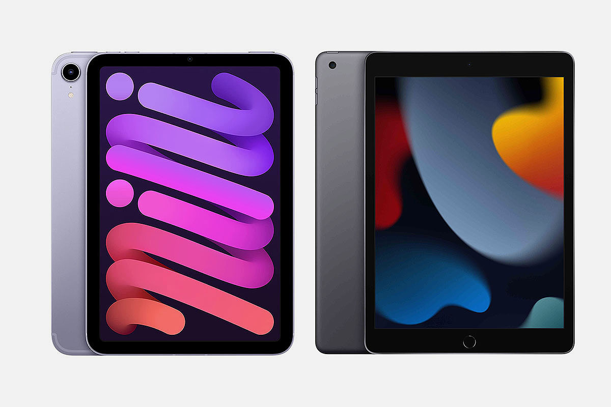 """Front of the iPad mini and iPad 10.2"""" models from 2021, now both on sale"""