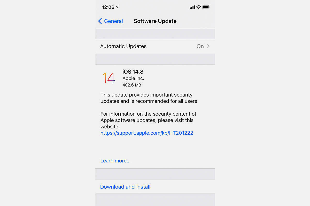 screenshot of iPhone 14.8 software update. Apple issued an emergency update due to vulnerabilities from malware.