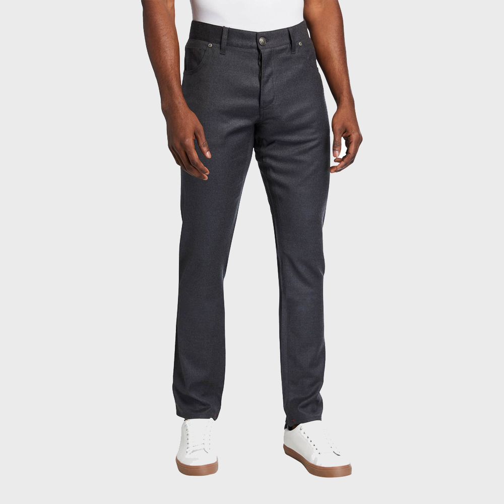 Isaia 5-pocket wool blend pants