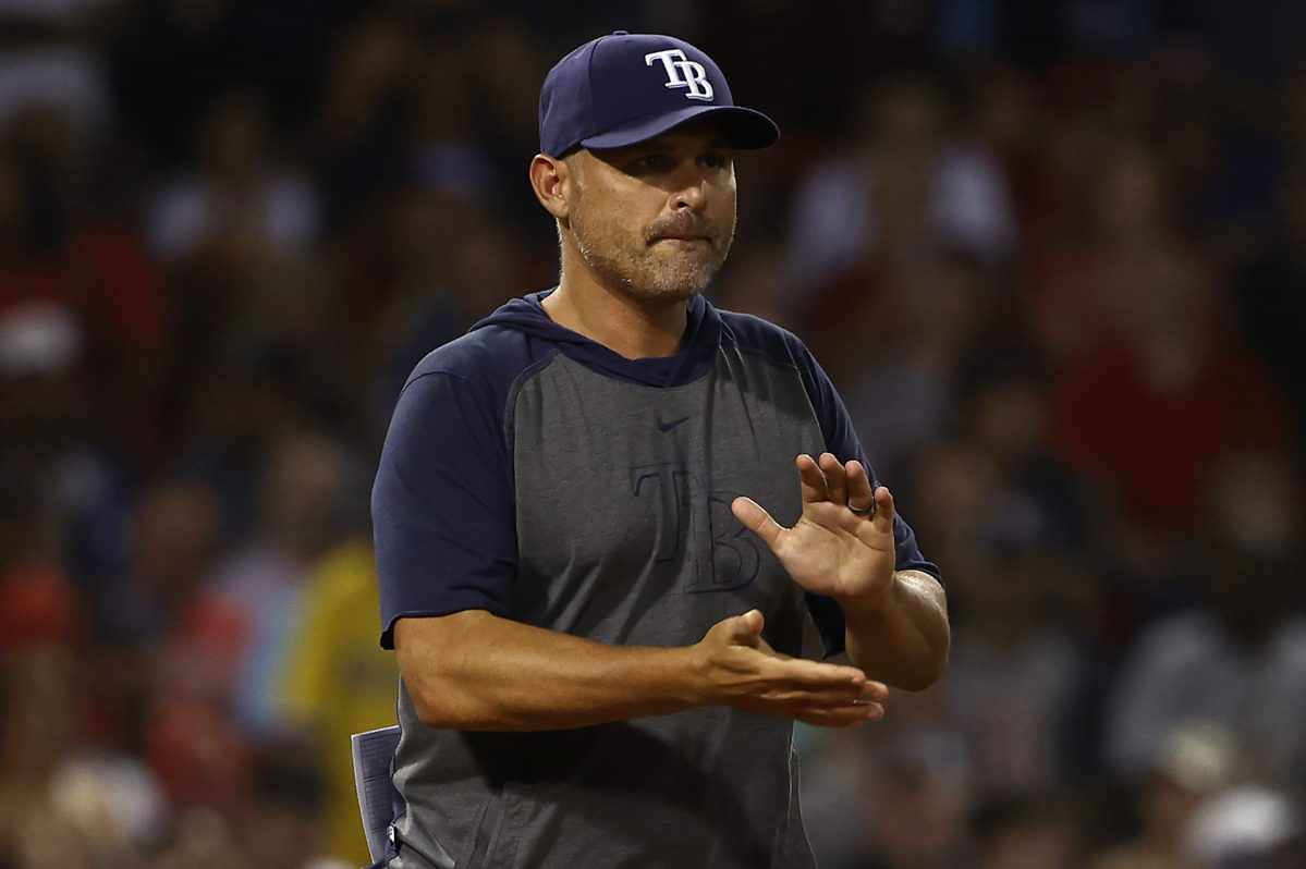 Manager Kevin Cash of the Tampa Bay Rays goes to the mound