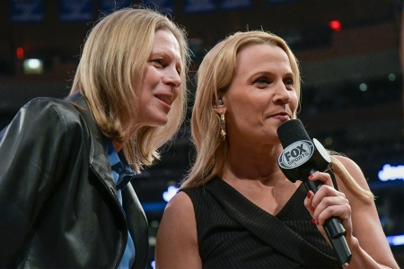 Lisa Byington (right) interviews Big East Commissioner Val Ackerman at Madison Square Garden in March 2019.