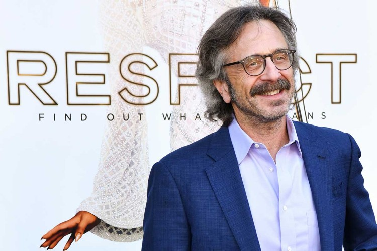"""Marc Maron attends the Los Angeles premiere of MGM's """"Respect"""" at Regency Village Theatre on August 08, 2021 in Los Angeles, California. Maron recently had a dust-up with a local Seattle guitar store on social media."""
