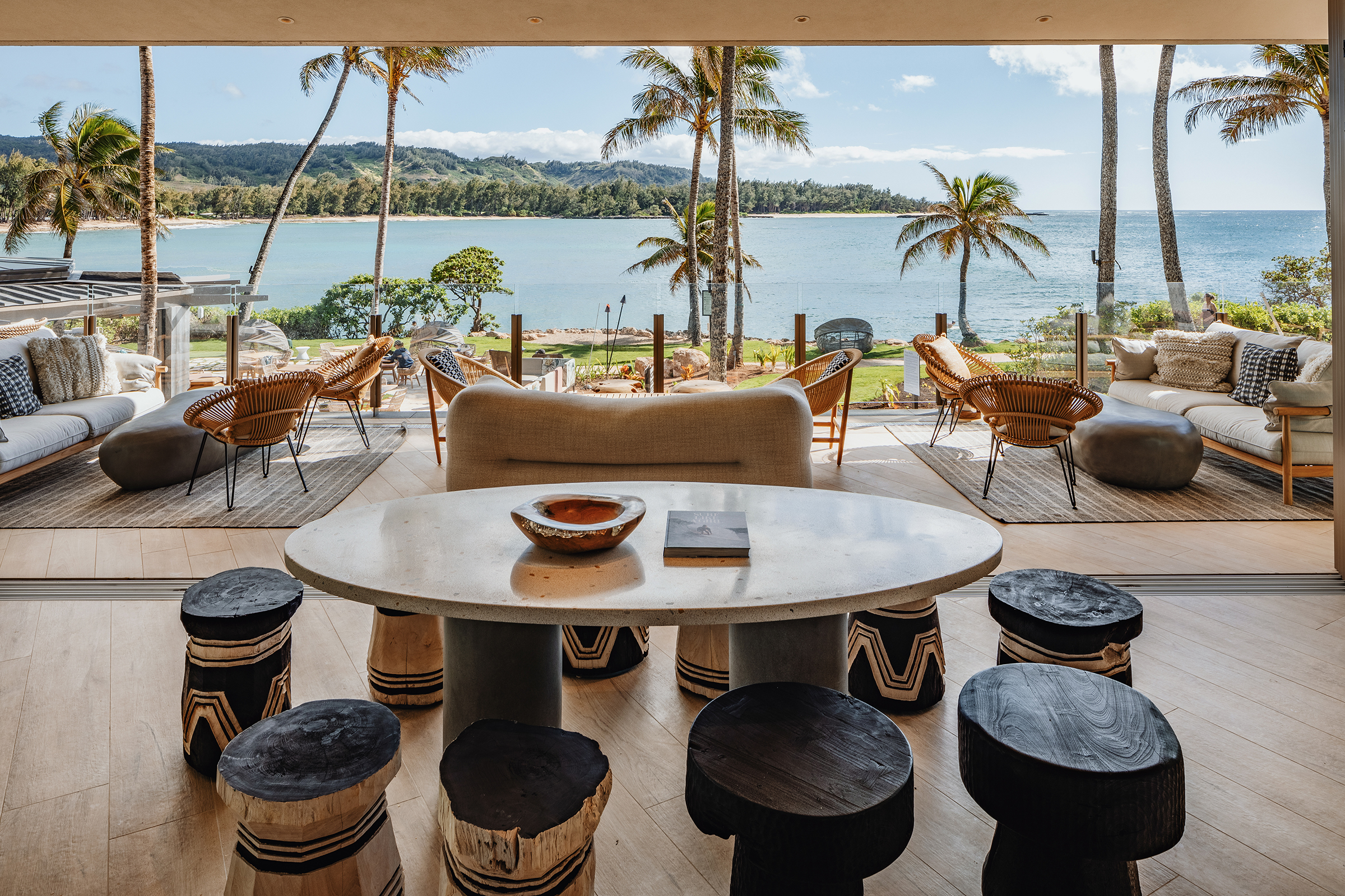 The view from the Ocean Club, one of the restaurants at the remodeled Turtle Bay Resort in Oahu