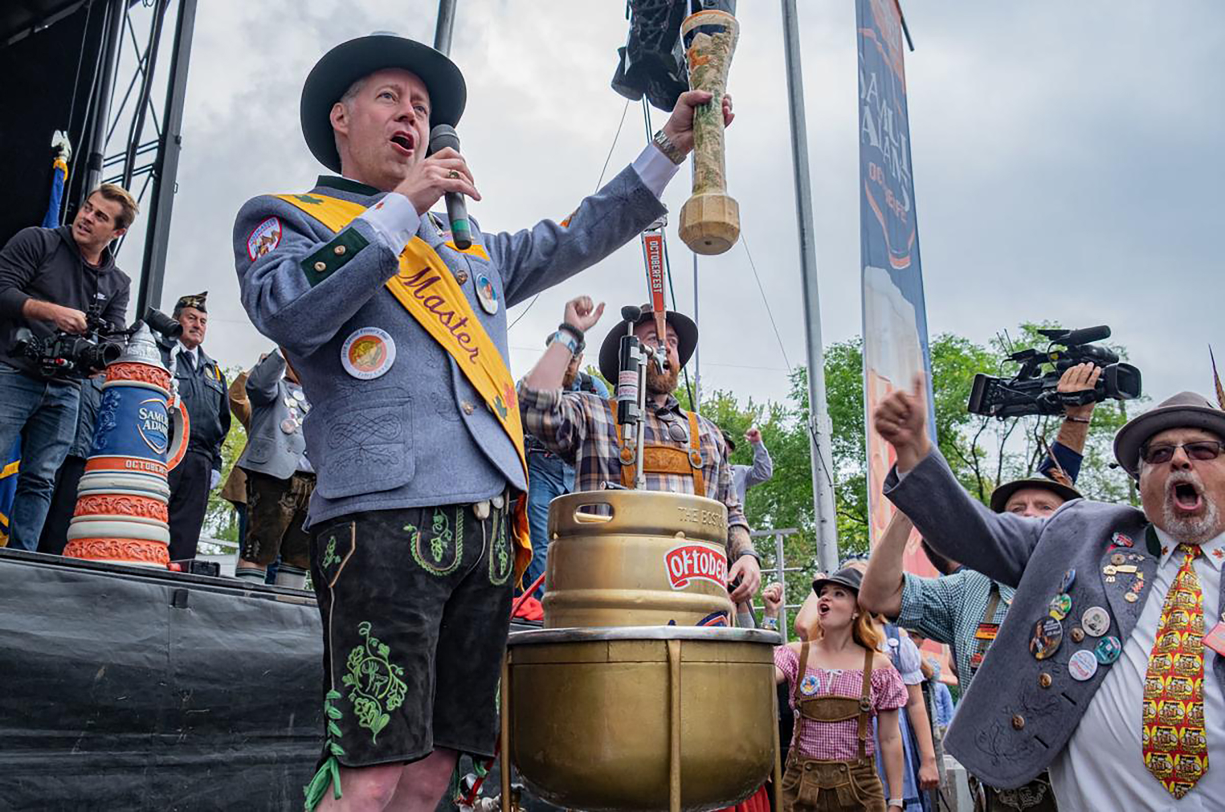 A man performs at La Crosse's annual Oktoberfest in Wisconsin.