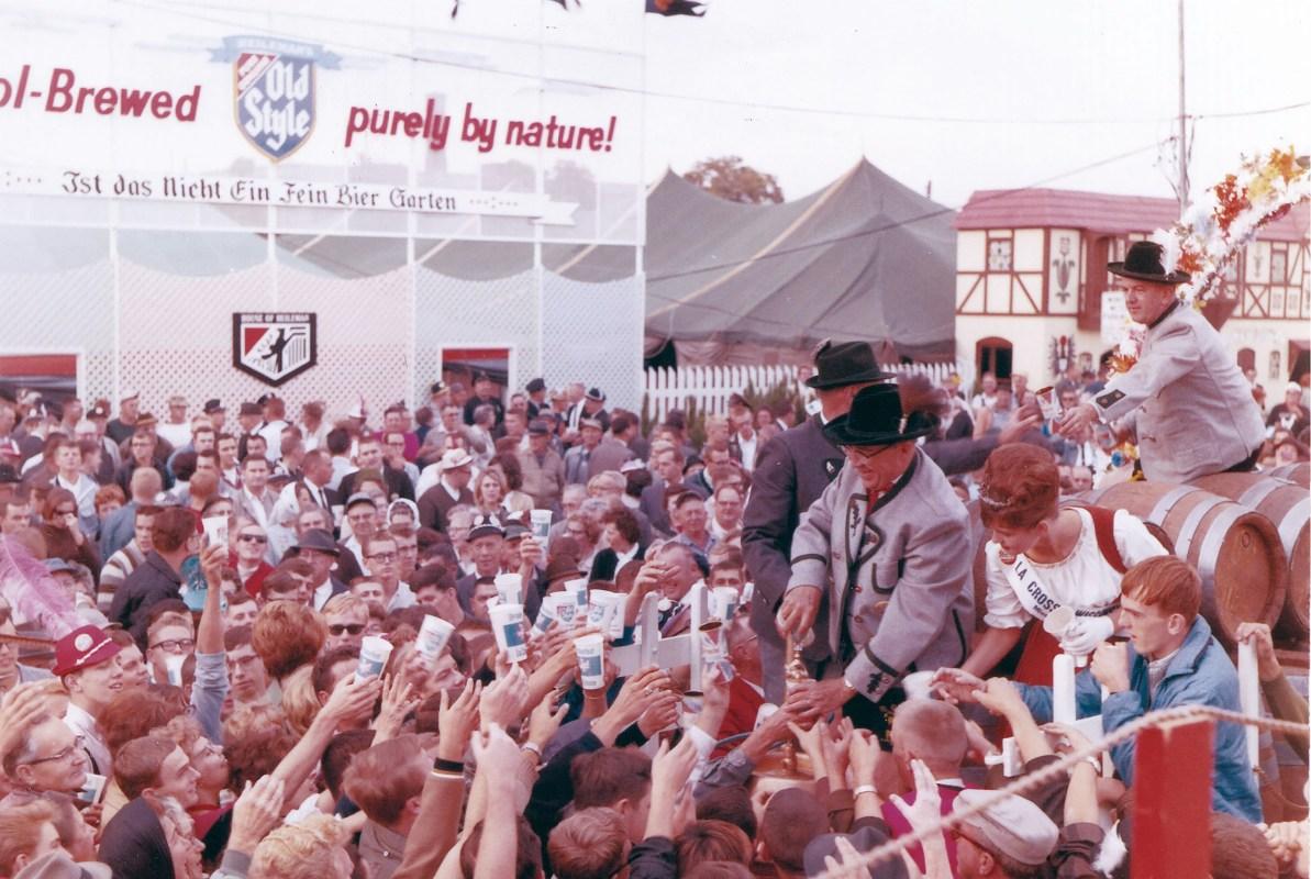 Festival goers gather in a large crowd at Oktoberfest USA in La Crosse, Wisconsin.