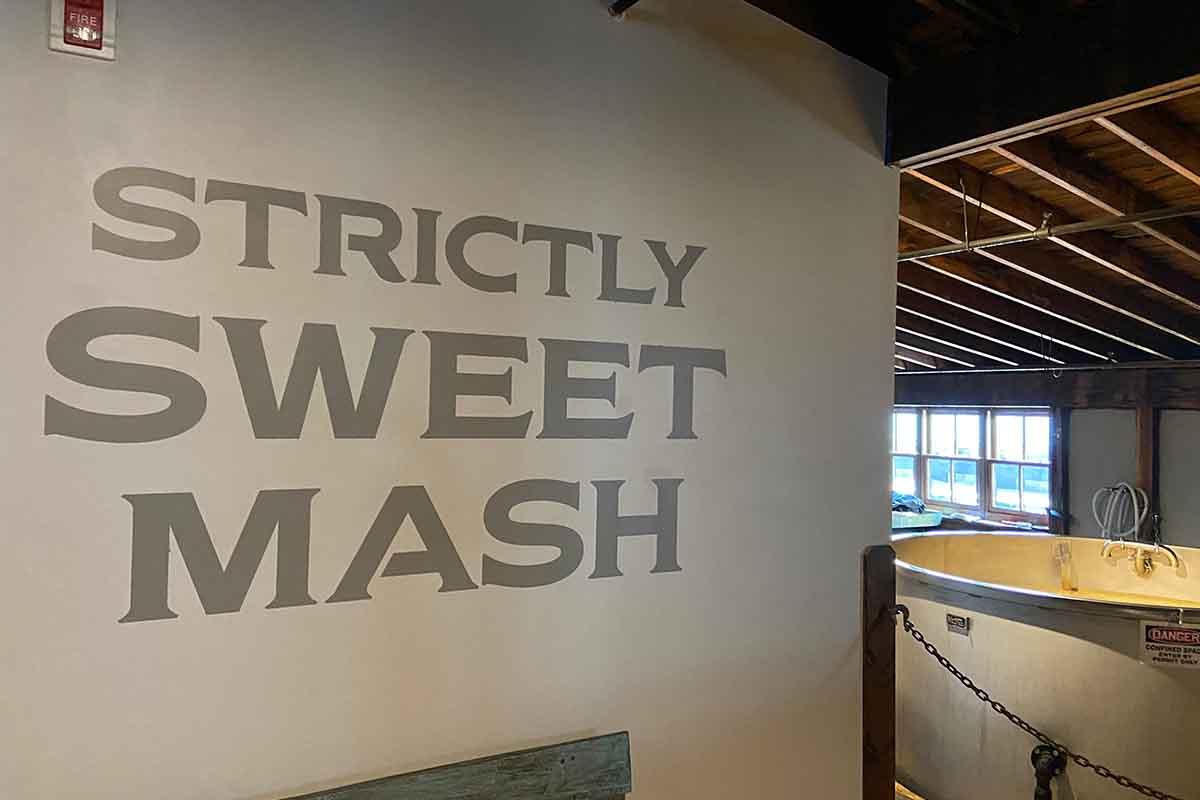 A sweet mash sign inside the Peerless distillery