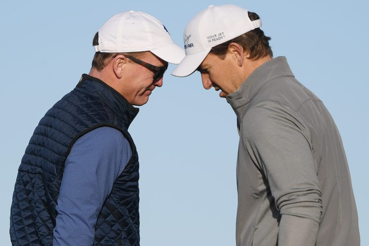 """Ex-NFL players Peyton Manning and Eli Manning, who have a hit """"MegaCast"""" show on Monday nights on ESPN, at the AT&T Pebble Beach Pro-Am."""
