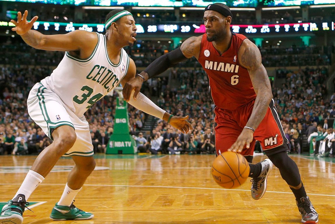 LeBron James drives against Paul Pierce in March of 2013