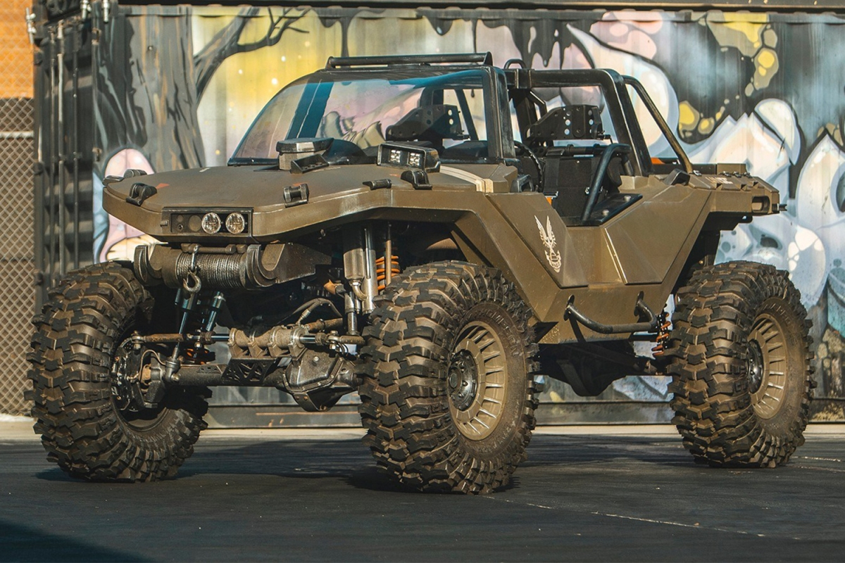 """A real-life, working Warthog vehicle from the """"Halo"""" video games sitting in a parking lot, designed and made by Ken Block's Hoonigan team"""