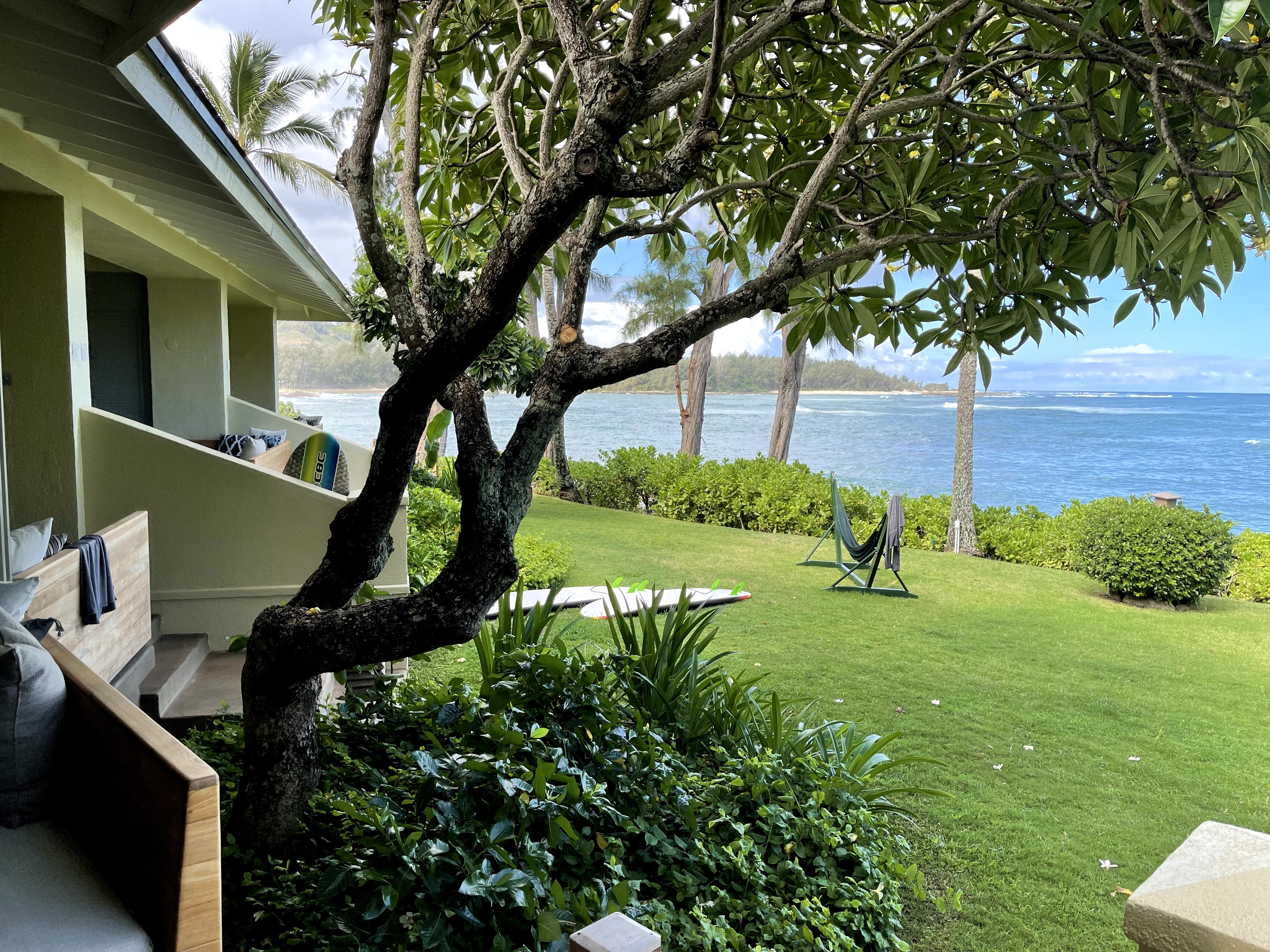 The view from an Ocean Bungalow at the remodeled Turtle Bay Resort in Oahu