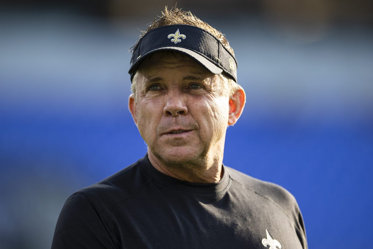 Head coach Sean Payton of the New Orleans Saints. The Saints, displaced due to recent hurricane activity, had a particular reason for choosing Jacksonville as their temporary home for a month.