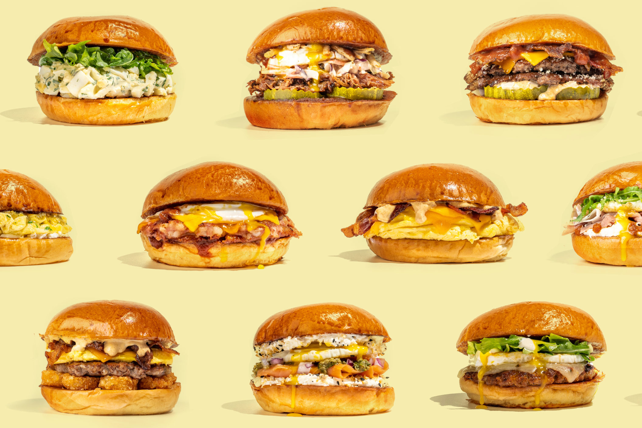 The broad selection of breakfast and lunch sandwiches at Cracked