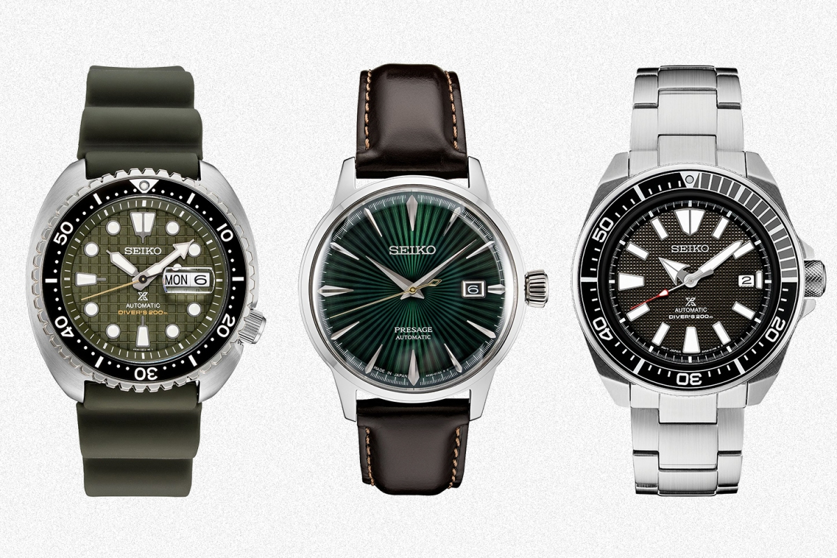 The Seiko King Turtle, Presage with a green sunray dial and Prospex diver with a black and grey bezel, all on sale during the Macy's VIP watches sale