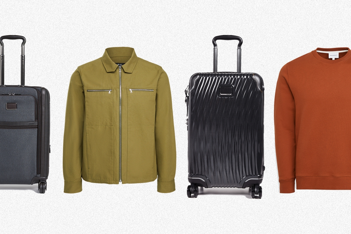 Tumi luggage, a green APC jacket and an orange Norse Projects sweatshirt, all available on Shopbop Men, formerly East Dane