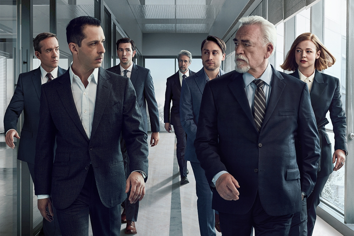 """One version of a """"Succession"""" poster for season 3, with the Roy family split up, some behind Kendall, others behind Logan"""