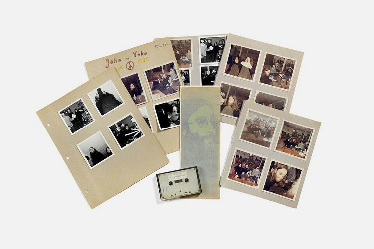 Brunn Rasmussen auction items of John Lennon interview, along with pictures