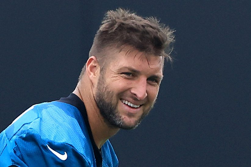 Tim Tebow practicing with the Jacksonville Jaguars prior to being cut