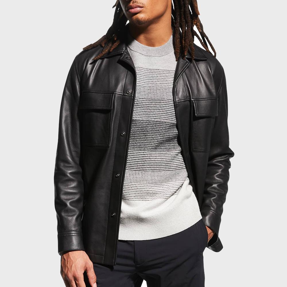 Theory Jared Lambskin Shirt Jacket