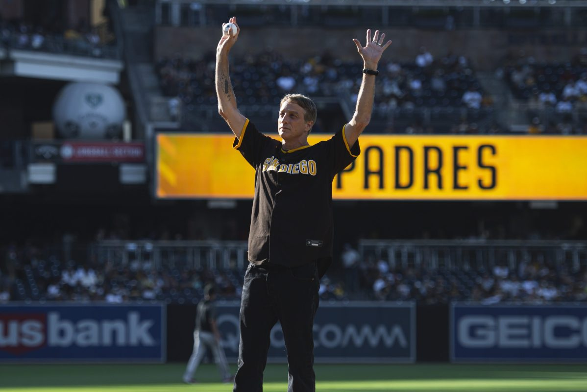 Skateboarding legend Tony Hawk on the mound for the ceremonial first pitch at a San Diego Padres game
