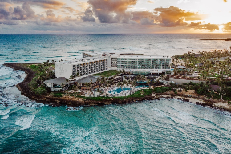 an overhead view of the newly remodeled turtle bay resort on the north shore of oahu in hawaii