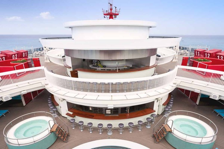 The upper decks of the Scarlet Lady, a new cruise ship from Virgin Voyages, launching soon