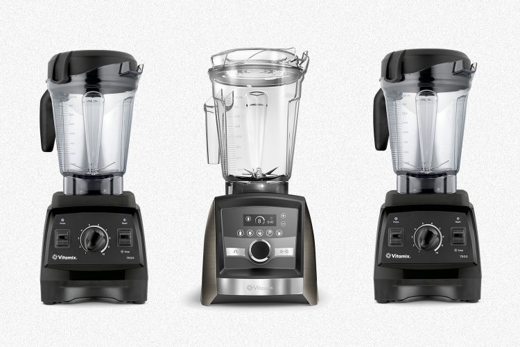 Three Vitamix blenders side by side on a grey background, including the 7500 model and the A3500 digital model