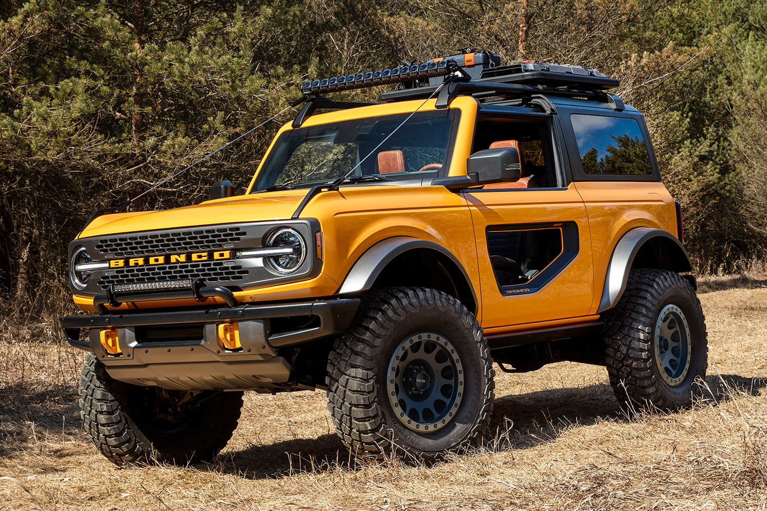 A new Ford Bronco SUV with two doors, featuring cutouts, and a Cyber Orange paint job, sitting still in dry grass with a wooded area in the background
