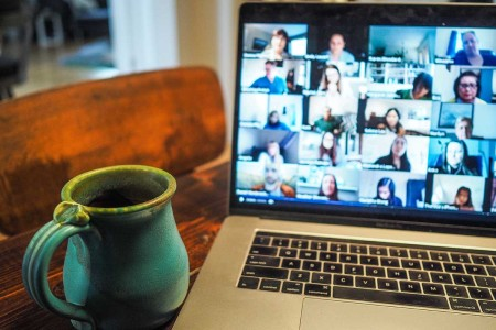 A laptop open to a video conferencing app. Mistakes on apps like Zoom have caused 1 in 4 companies to fire someone.