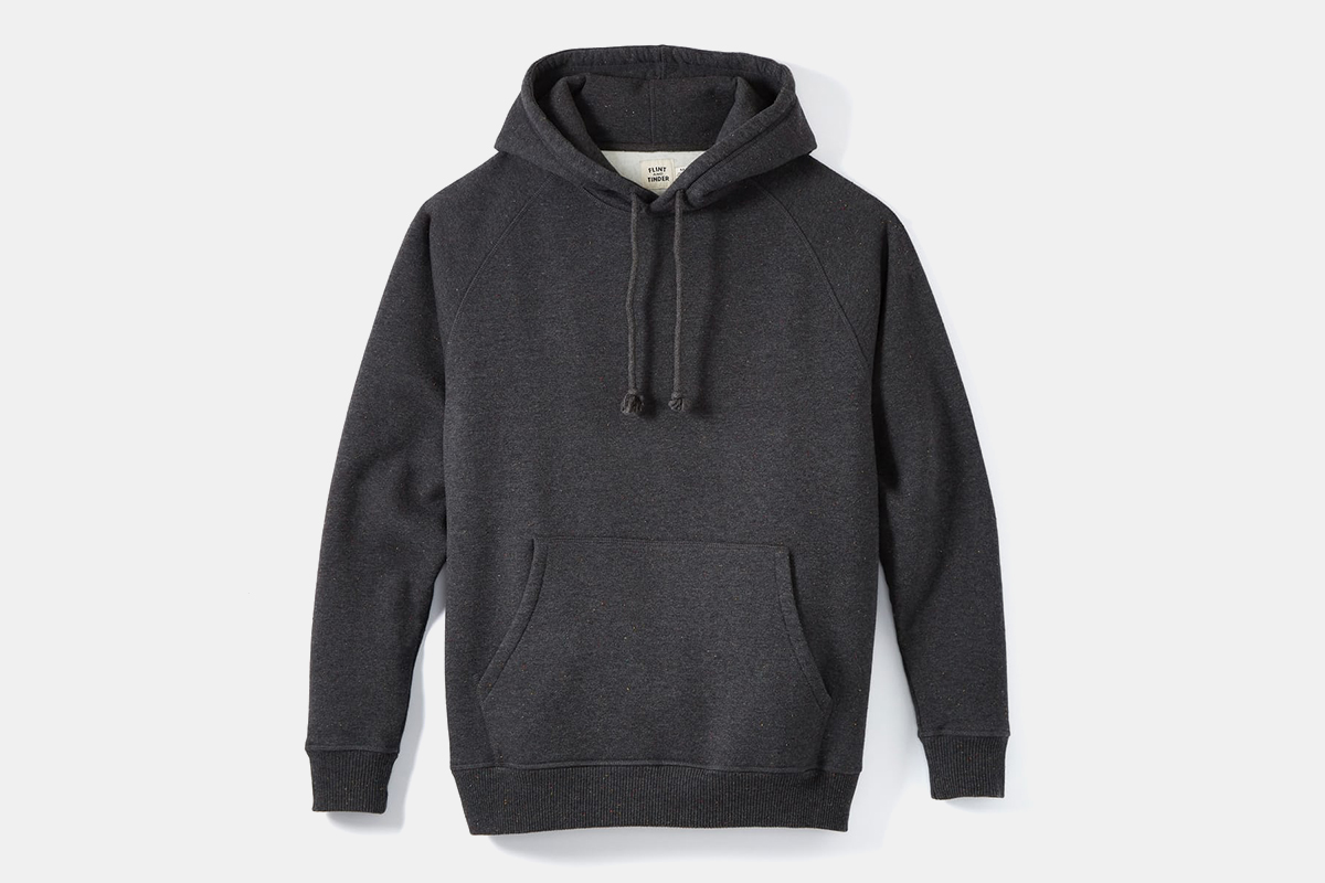 The Speckle Fleece Pullover Hoodie from Flint and Tinder in charcoal grey on a white background