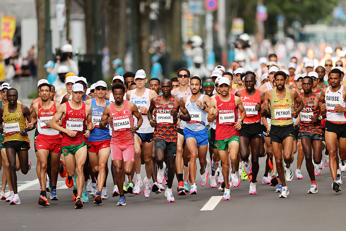 Runners competing in the marathon at the 2020 Tokyo Games.