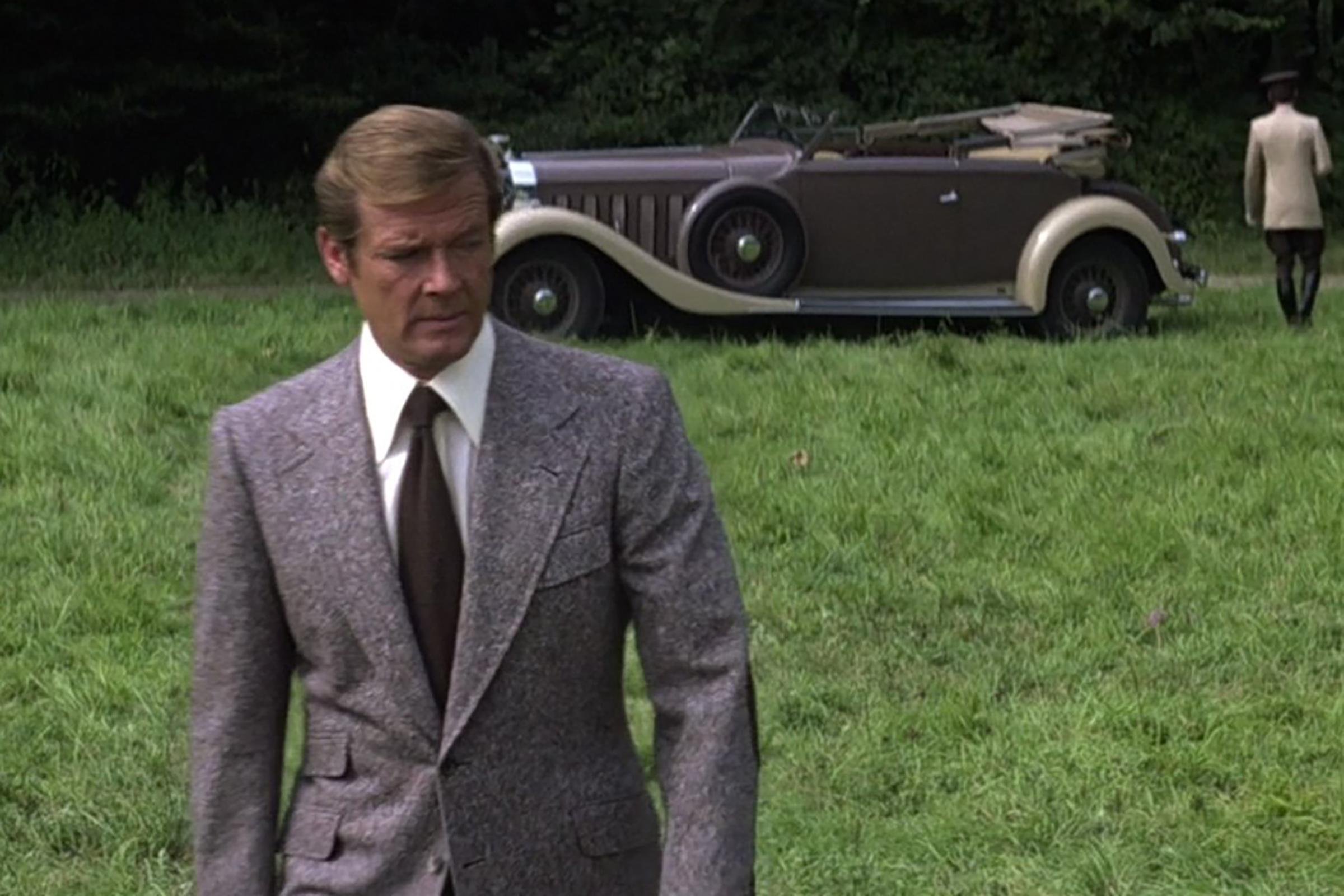 Moore dons a tweed suit in Moonraker.