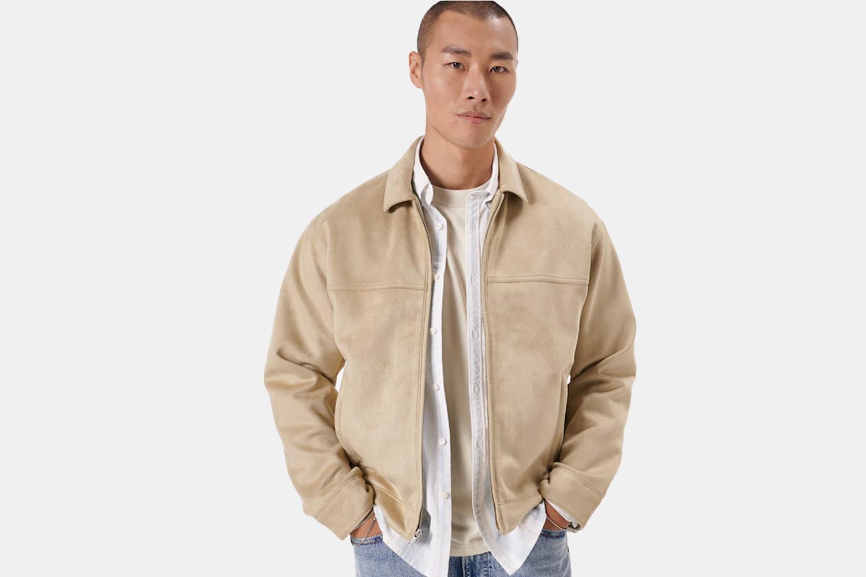 a light tan jacket on a model