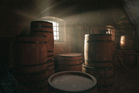 whisky aging in barrels in a dusty warehouse. Aging whisky for a long time (50+ years) presents unusual challenges.