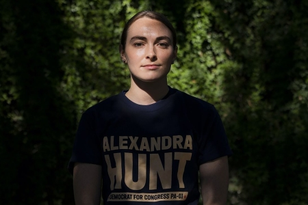 Alexandra Hunt in a campaign t-shirt.